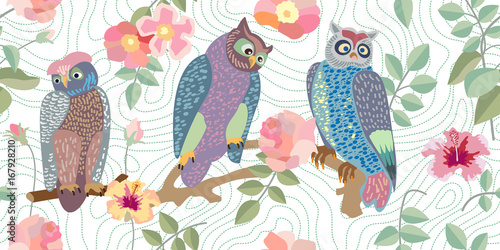 Panoramic vector patterns with owls, roses and branches. - 167928210