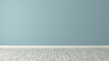 blue wall background with white parquet - 167934419