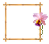 Realistic bamboo frame with orchid flower.