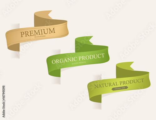 natural label and organic label ribbon  vintage labels and badges