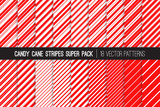 Fototapety Super Pack of Christmas Candy Cane Stripes Seamless Vector Patterns. Classic Winter Holiday Mint Treat. Red White Striped Backgrounds. Variable Thickness Diagonal Lines. Pattern Tile Swatches Included