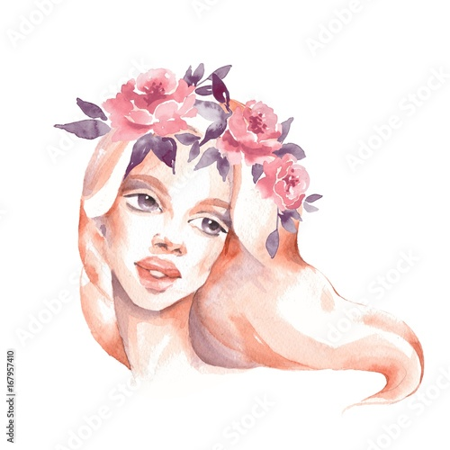 Girl in wreath. Romantic watercolor illustration. Female face, watercolor painting - 167957410