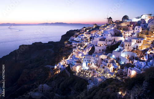 Fotobehang Purper The City of Oia, Santorini, after Sunset