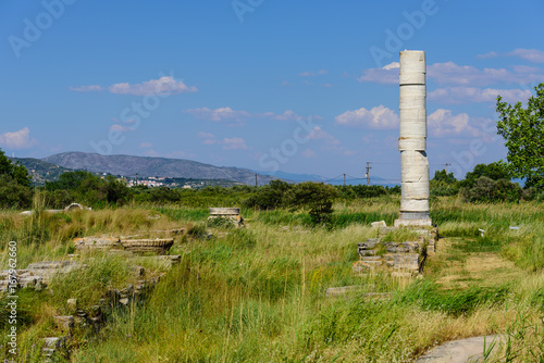 Hera''s temple is a popular architectural and tourist attraction on the island of Samos, Greece