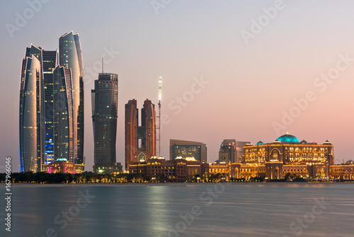 Fotobehang Abu Dhabi Abu Dhabi buildings skyline from the sea