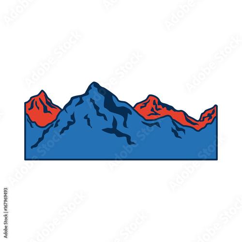 Fridge magnet alpine mountain switzerland landscape travel image vector illustration,