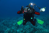 Fotograf podwodny, z aparatem Canon, obudowa Ikelite, światło, zdjęcie wykonane, Egipt, Morze Czerwone, Safaga