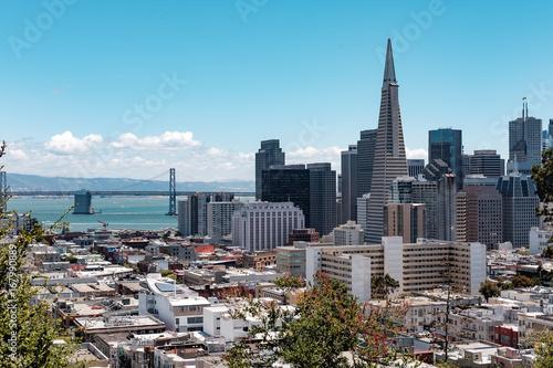 Fotobehang San Francisco Bridge and Downtown