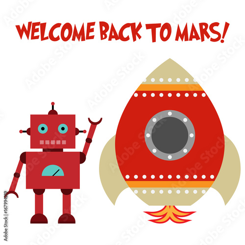 Toy spaceship with robot and text WELCOME BACK TO MARS!
