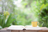 Yellow mug and open book