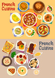 French cuisine dishes for lunch menu icon set - 167998862