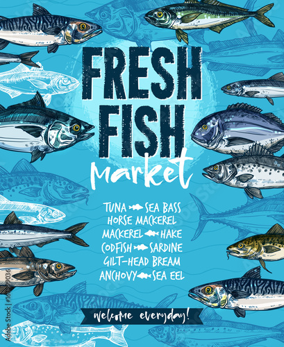 Wall mural Fresh fish banner for seafood market template