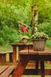 Quadro norwegian flag and green picnic site