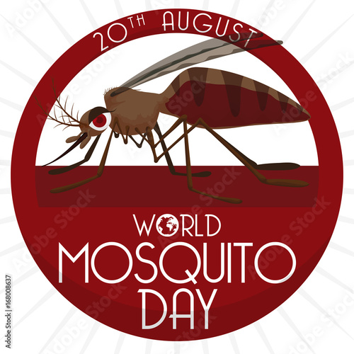 Round Button with Mosquito Inside of it for Mosquito Day, Vector Illustration