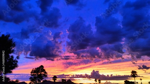 Foto op Canvas Donkerblauw sunset