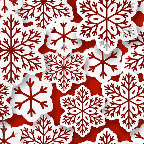 Materiał do szycia Seamless pattern with paper snowflakes