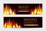Fototapety Vector set. Illustration with a burning fire on a dark background. Template for advertising, brochures, flyers, modern promotion.