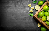Fresh limes in the old box. - 168021030