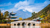 Fototapety Lijiang old town scene-Black Dragon Pool Park.Yunan China.