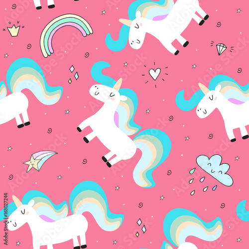 Fototapeta cute unicorn on a pink backgroun. vector pattern