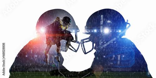 American football game . Mixed media . Mixed media
