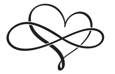 flourish calligraphy vintage heart. Illustration vector hand drawn EPS 10