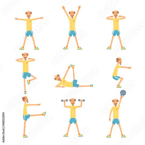 Senior man character exercising set, healthy active lifestyle retiree, elder fitness vector Illustrations