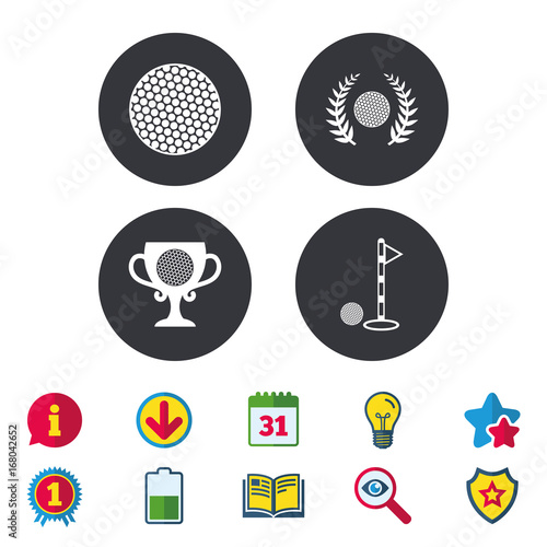 Golf ball icons. Laurel wreath award symbol.