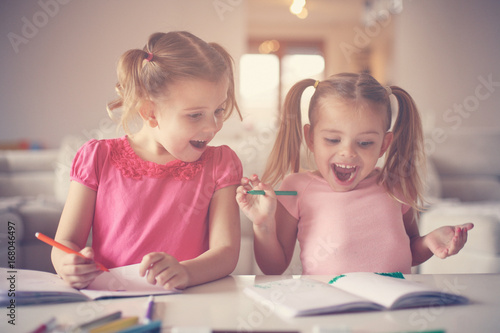 Cute little girls drawing.