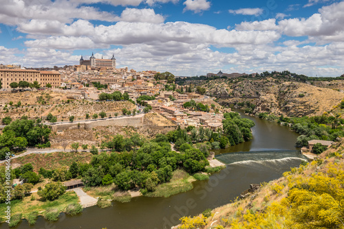 Toledo old town city skyline beside the Tagus Rive, Spain