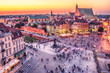Warsaw, Poland: Castle Square and the Royal Castle, Zamek Krolewski w Warszawie in the sunset of summer - 168047200