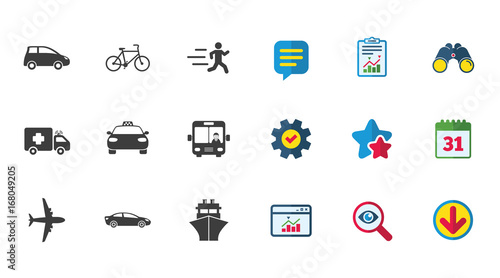 Sticker Transport icons. Car, bike, bus and taxi signs.