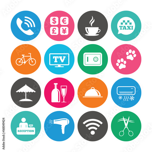Set of Hotel services and Apartment icons.