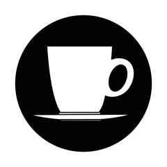 ceramic cup of coffee plate handle beverage vector illustration
