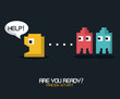 colorful poster of are you ready press start with graphics of pacman game vector illustration
