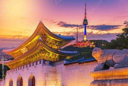 Landmark of Korea with covered Gyeongbokgung n Seoul Tower , South korea Poster