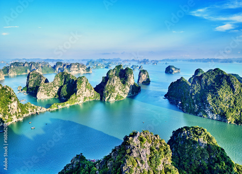 beautiful green limestone mountains in halon bay Poster