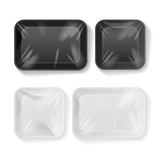 Set of Blank Black and White Styrofoam Plastic Food Tray Container. Vector Mock Up Template - 168067457