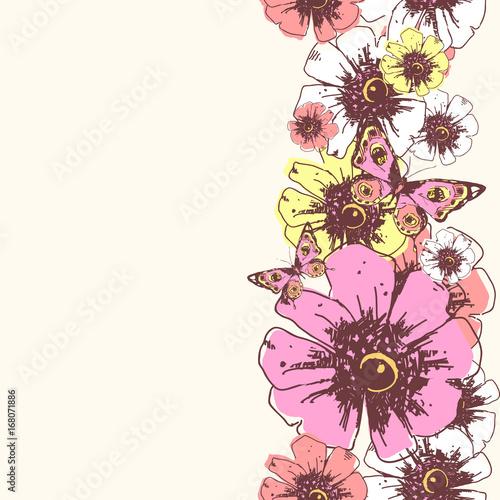 beautiful pink,yellow,white  flowers , pattern - 168071886