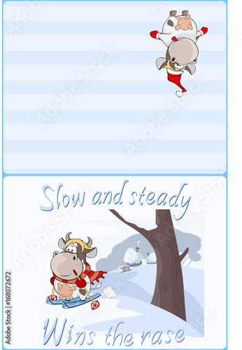 Foto op Aluminium Babykamer Illustration of a Cute Little Cow Walking Ski. Postcard. Proverb