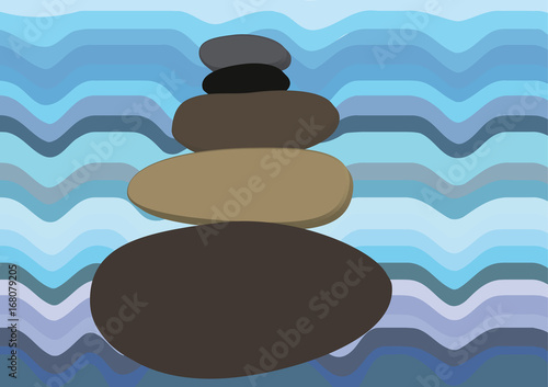 Harmony and balance vector illustration, stone cairn against wavy water, blue tones