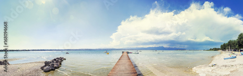 Poster Panoramic view of the coast of Lake Garda