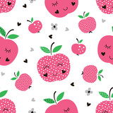 Seamless pattern with abstract apples