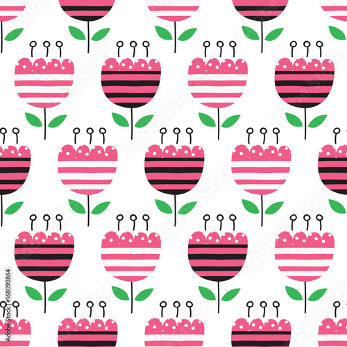 Fototapeta Seamless pattern with abstract flowers