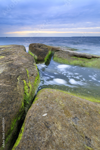 Fridge magnet Algaes on large rocks in sea at cloudy evening