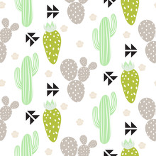 Cactus plant vector seamless pattern. Abstract hipster desert nature fabric print. Green mint cacti on white for wallpaper and textile apparel.