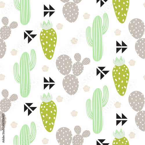 Cactus plant vector seamless pattern. Abstract hipster desert nature fabric print. Green mint cacti on white for wallpaper and textile apparel. - 168106491