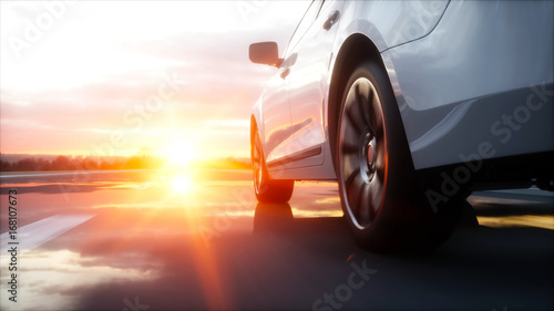 Wall mural Luxury white car on highway, road. Very fast driving. Wonderfull sunset. Travel and motivation concept. 3d rendering.