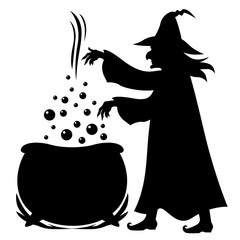 Witch brews potion in pot