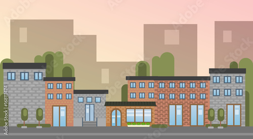 City Building Houses Town View Silhouette Skyline Background Flat Vector Illustration - 168111474